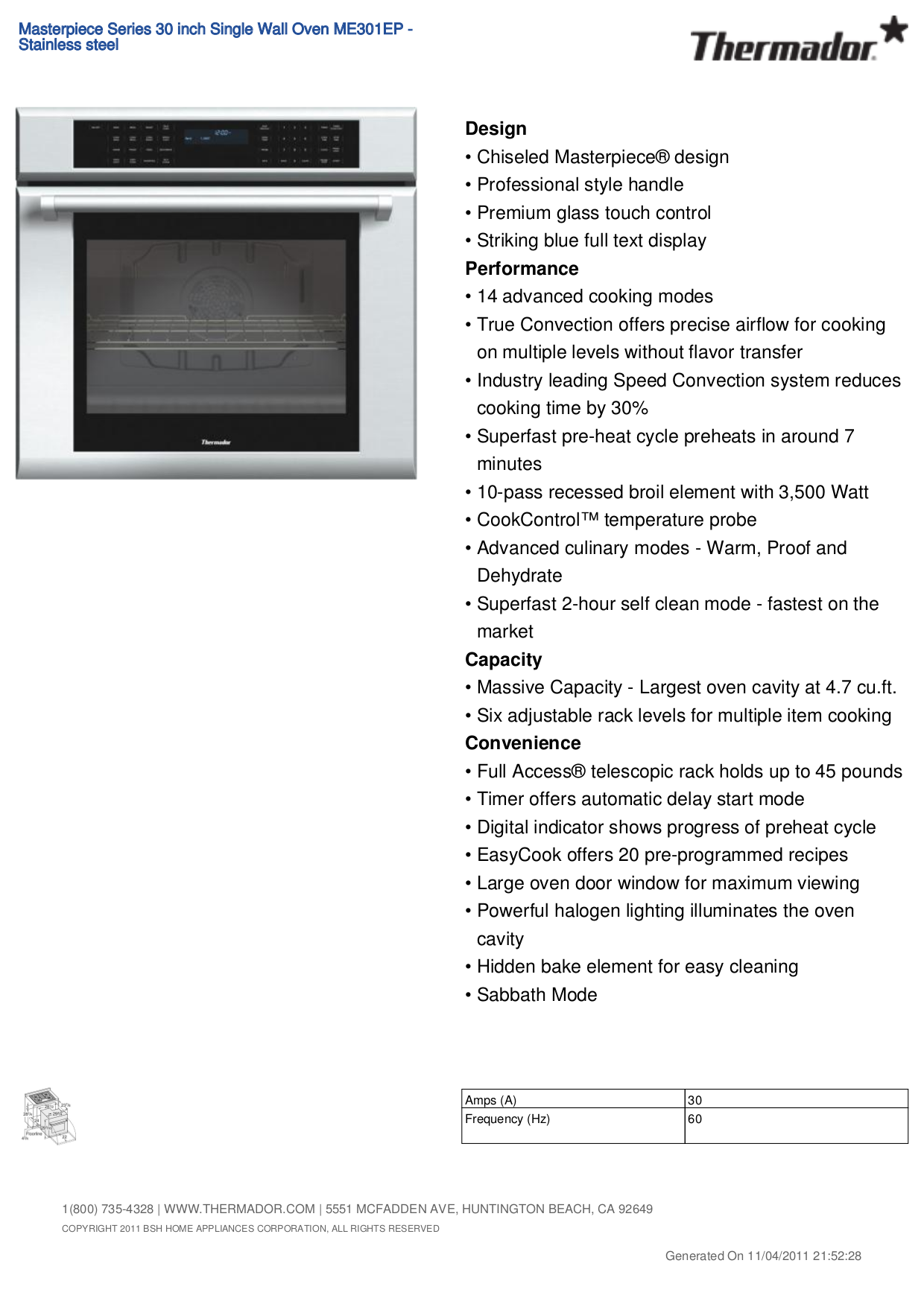 pdf for Thermador Oven ME301EP manual