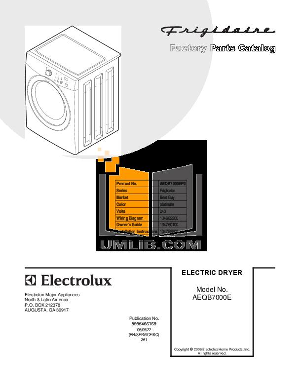 pdf for Frigidaire Dryer AEQB7000EP0 manual
