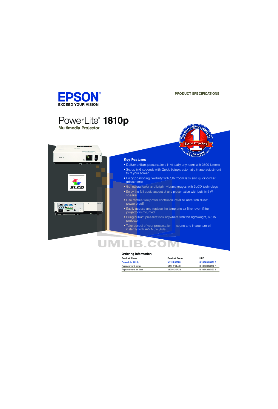 Epson Projector PowerLite 1810p pdf page preview
