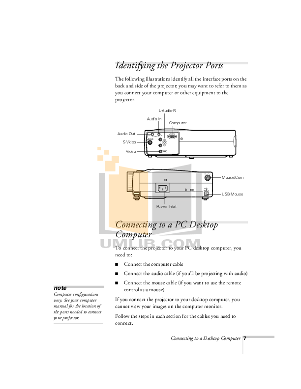 Epson Projector PowerLite 710c pdf page preview
