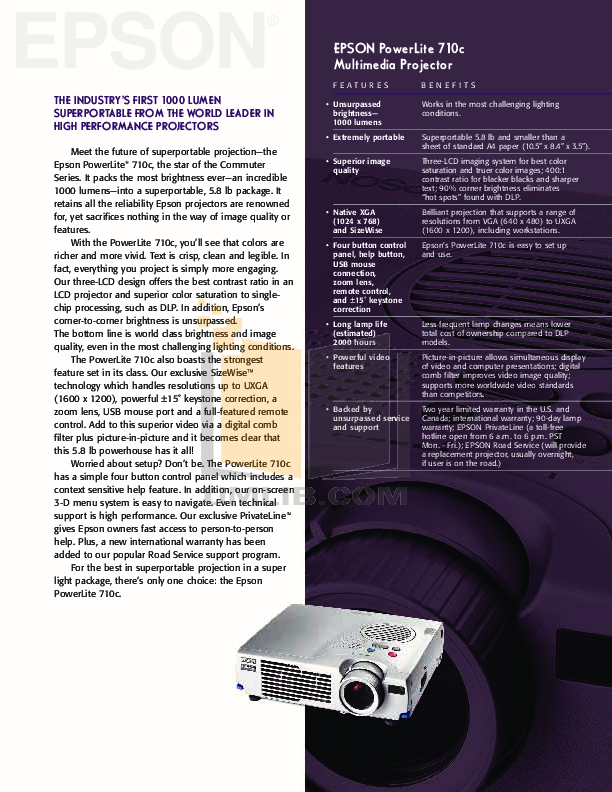 pdf for Epson Projector PowerLite 710c manual