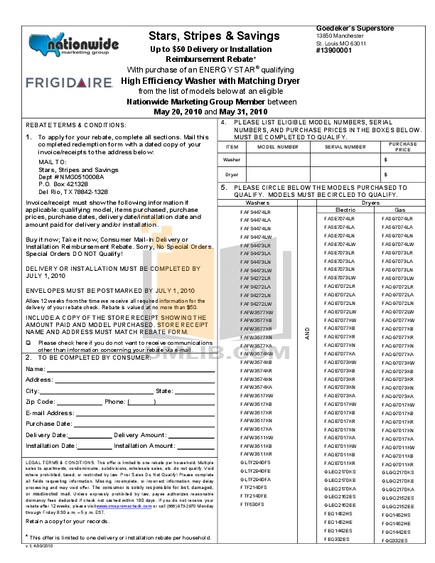pdf for Frigidaire Dryer GLGQ2170K manual