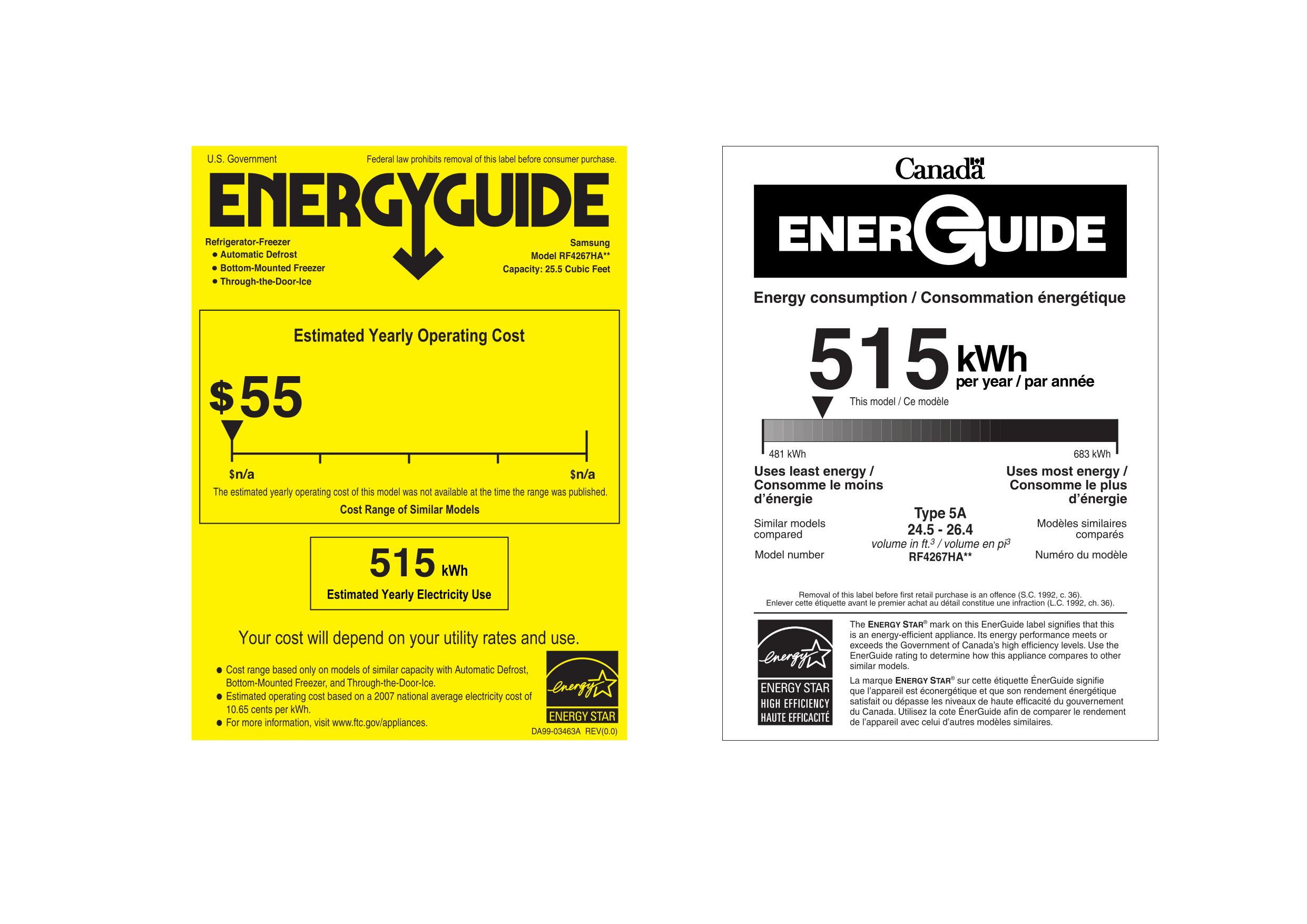 pdf for Samsung Refrigerator RF4267HA manual