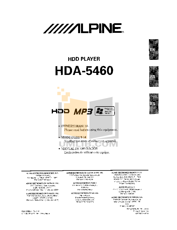 pdf for Alpine Car Video IVA-D900 manual