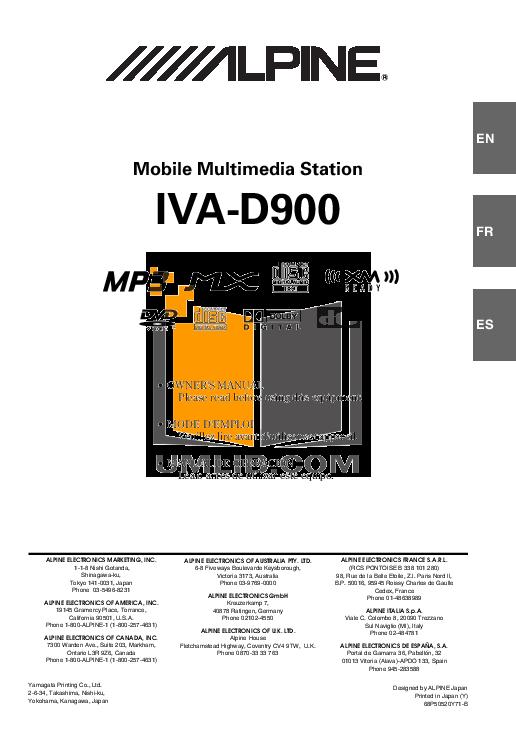 download free pdf for alpine iva d900 car video manual rh umlib com