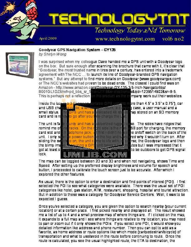 download free pdf for goodyear gy135c gps manual rh umlib com Instruction Manual Example Operators Manual