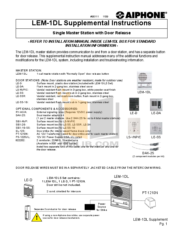 pdf for Aiphone Other LEM-1DL Intercoms manual