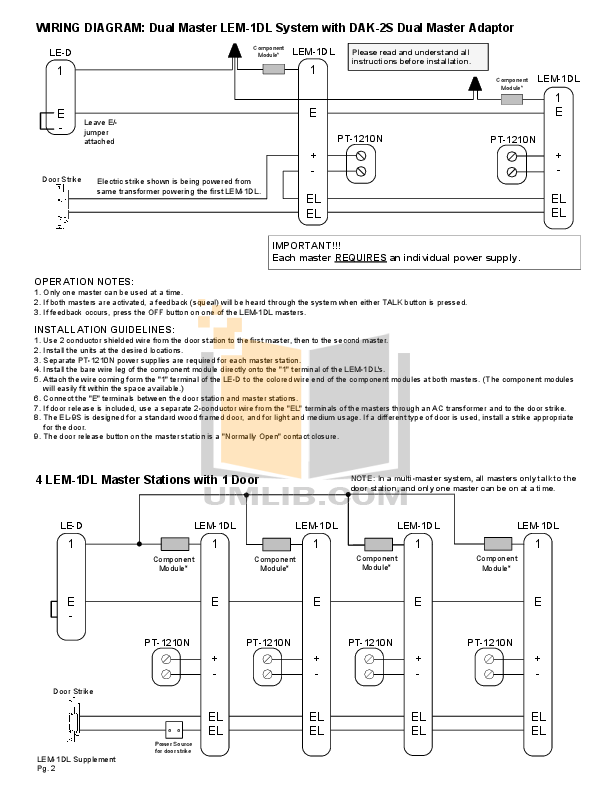 Aiphone Other LEM-1DL Intercoms pdf page preview