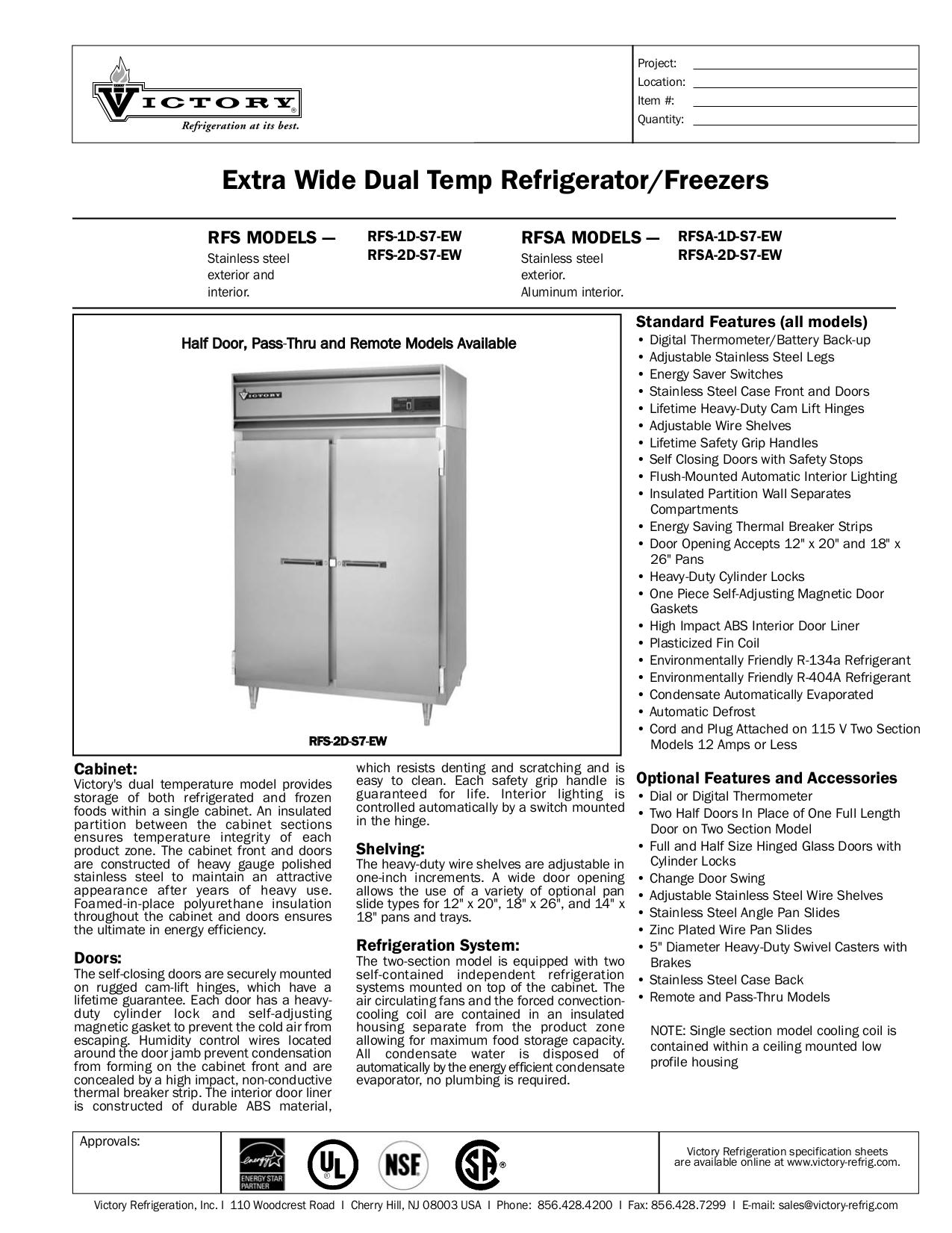 pdf for Victory Freezer RFS-2D-S7-EW manual
