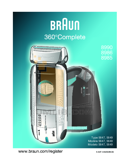 pdf for Braun Other 8990CC Shavers manual