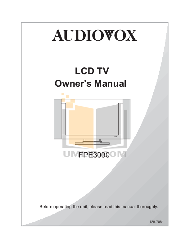 pdf for Audiovox TV FPE3000 manual
