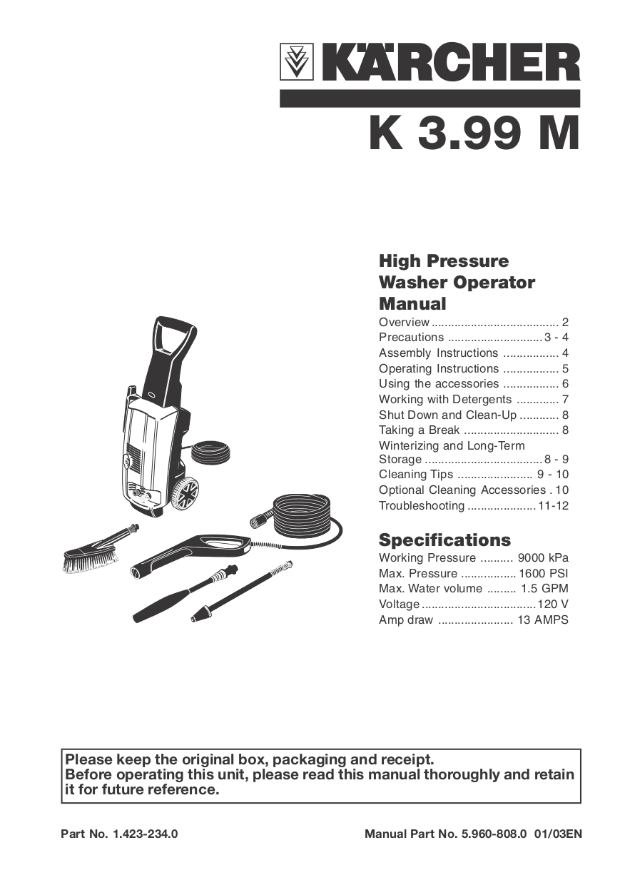 download free pdf for karcher k 3 99 m pressure washers other manual rh umlib com Real Rock 99.3 KISS-FM 99.3