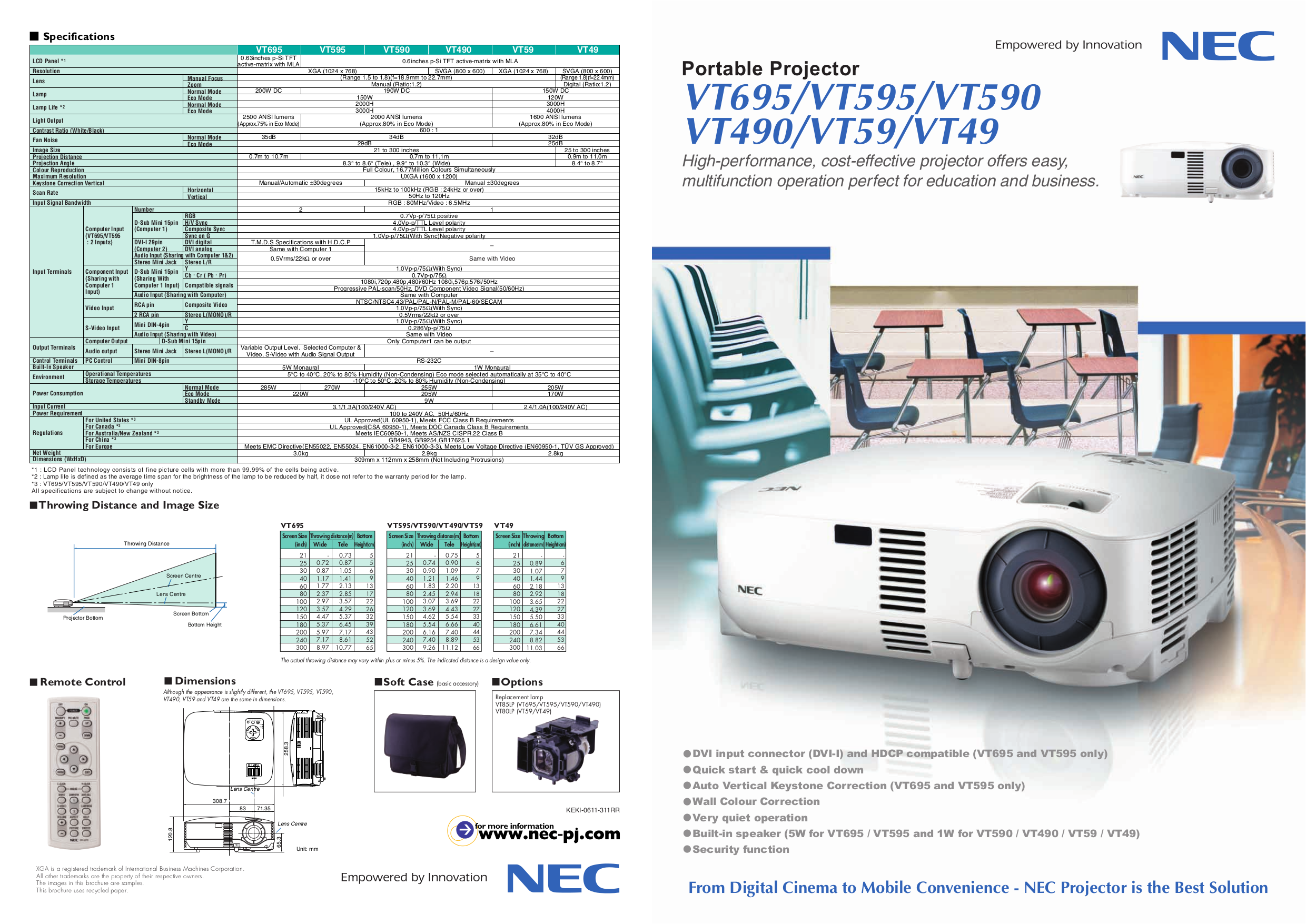 download free pdf for nec vt490 projector manual rh umlib com NEC VT 47 Projector Manual NEC Projectors Offical Web Site