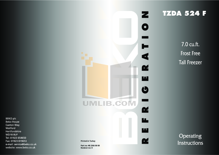 pdf for Beko Freezer TZDA524F manual