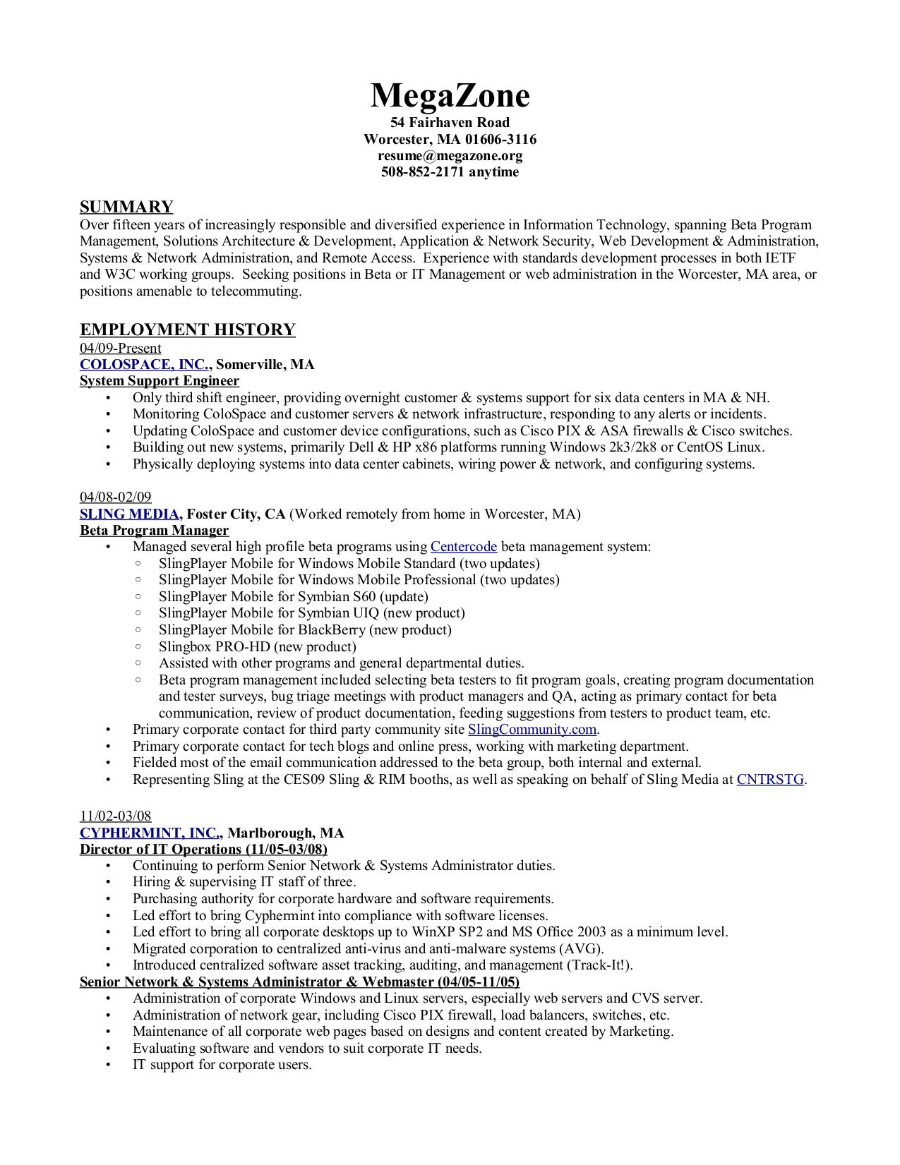 Technical architect resume sample