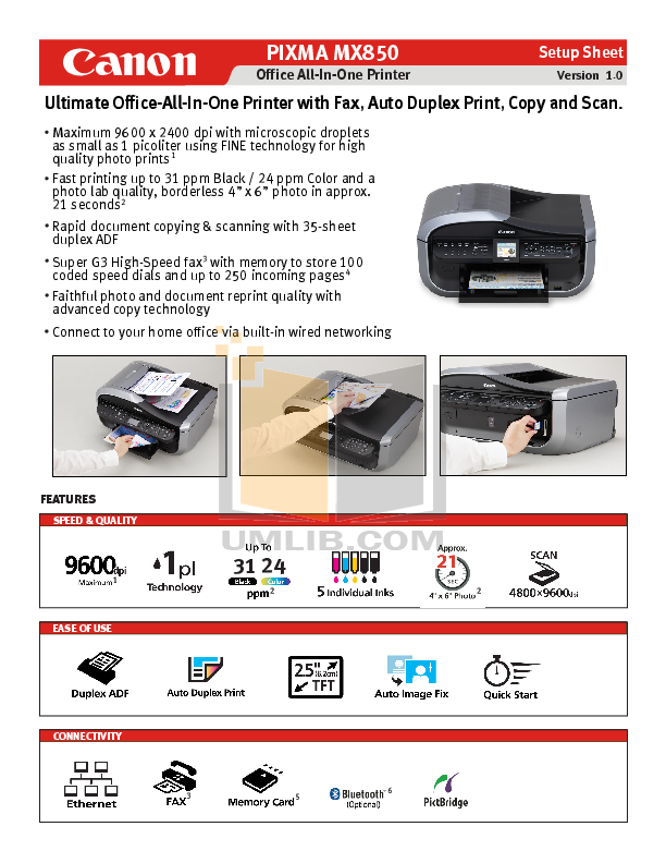 Canon mx850 service manual   printer (computing)   image scanner.