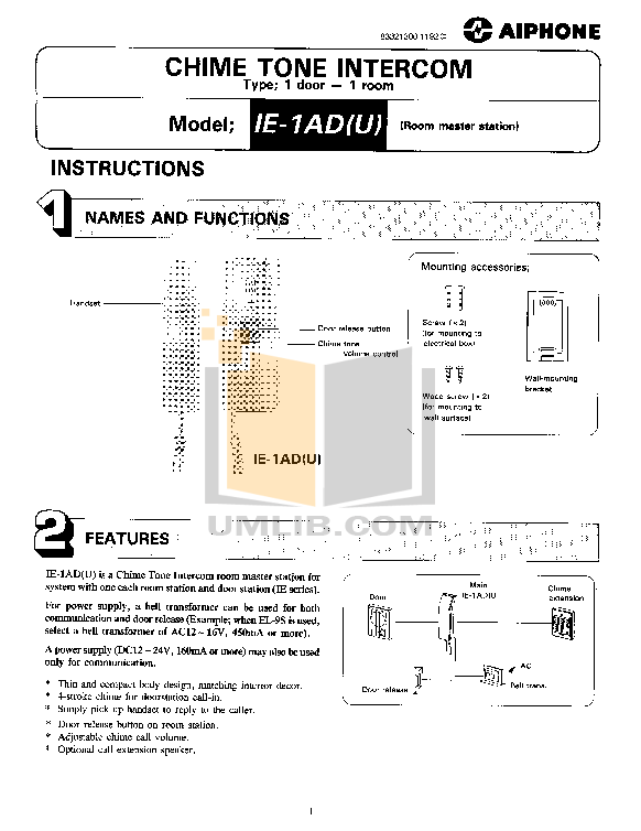 pdf for Aiphone Other IC-1AD Intercoms manual