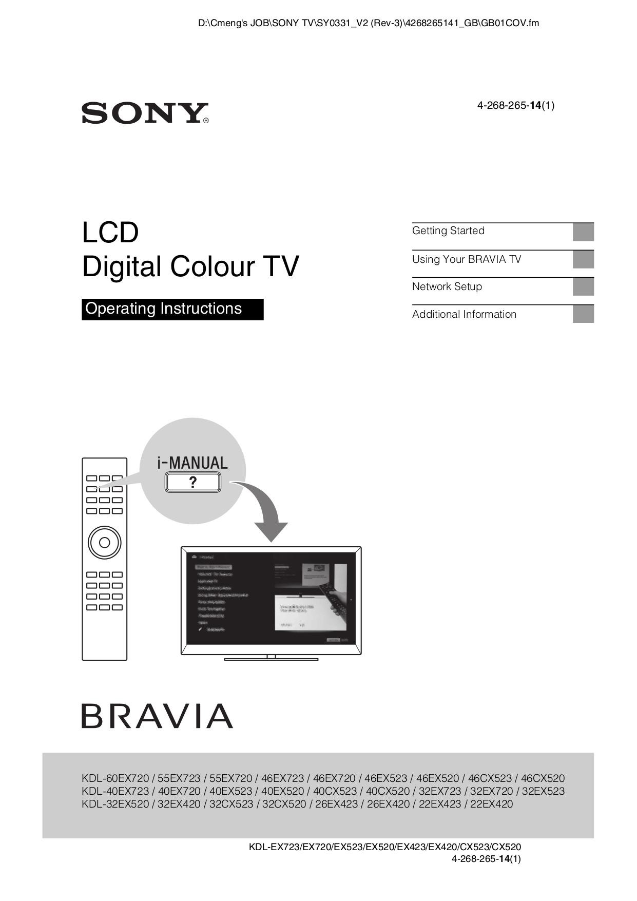 Bravia ex720 manual