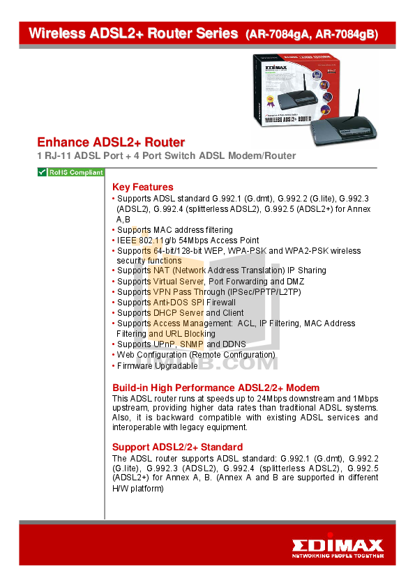 pdf for Edimax Wireless Router AR-7084gB manual