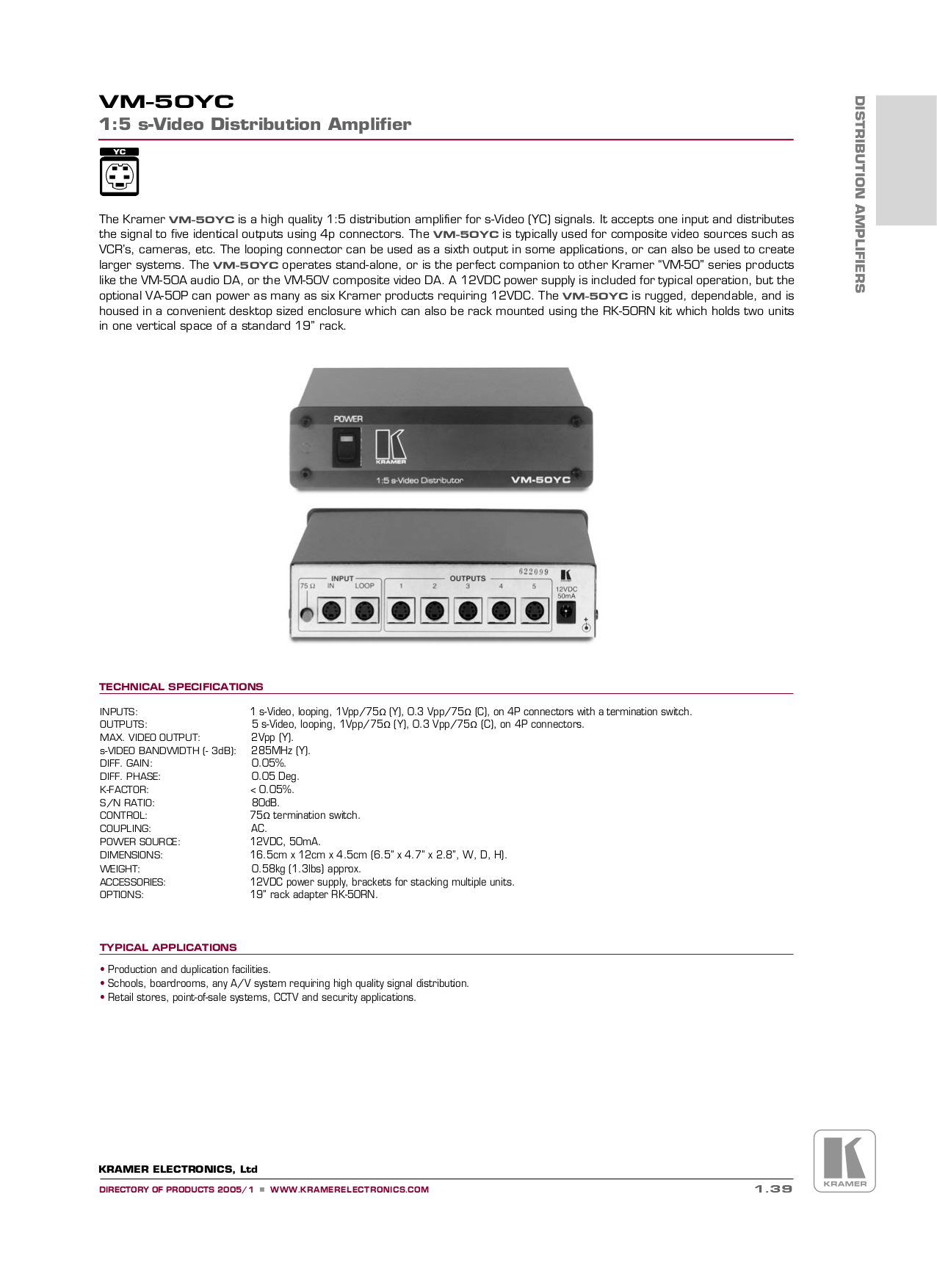 pdf for Kramer Other VM-50YC Distribution Amplifiers manual