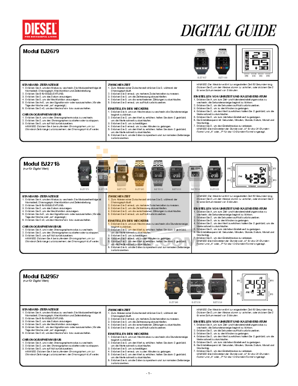 pdf for Diesel Watch DZ7163 manual