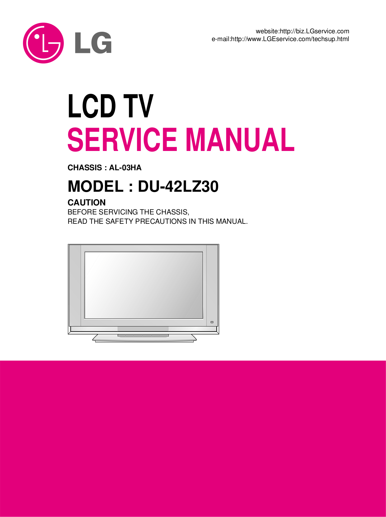 LG TV DU-42LZ30 pdf page preview ...