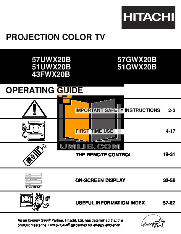 download free pdf for hitachi 43fwx20b tv manual rh umlib com Hitachi Repair Manual Hitachi Repair Manual