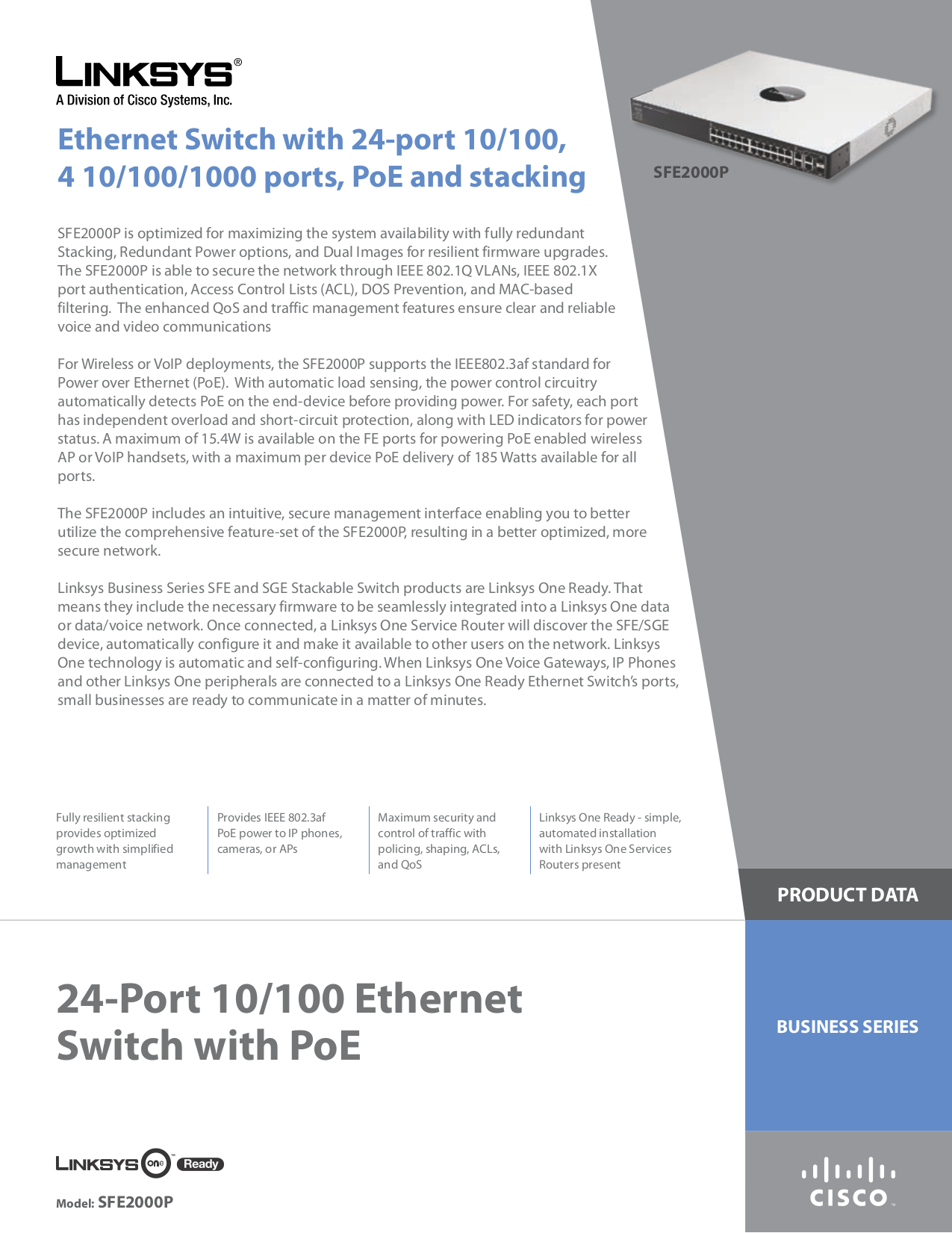 pdf for Linksys Switch SFE2000P manual