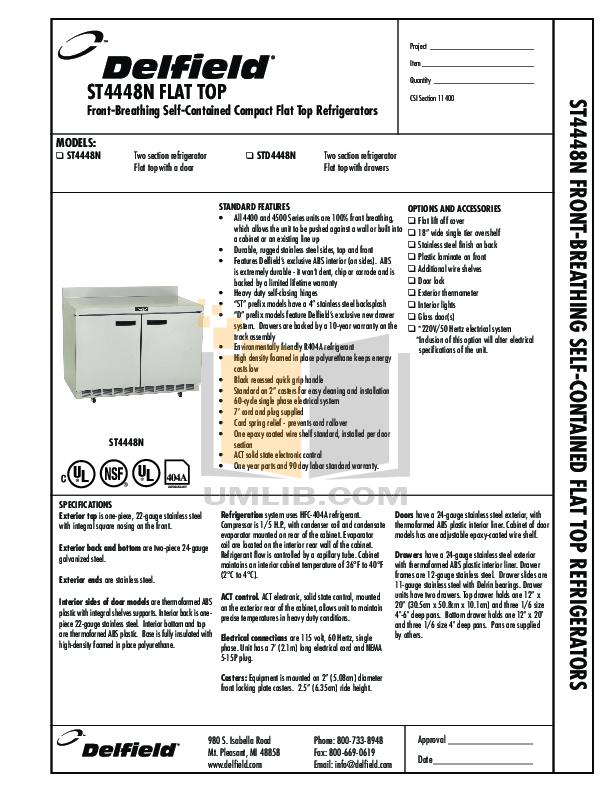 pdf for Delfield Refrigerator ST4448N manual