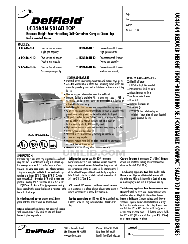 pdf for Delfield Refrigerator UCD4464N-16 manual