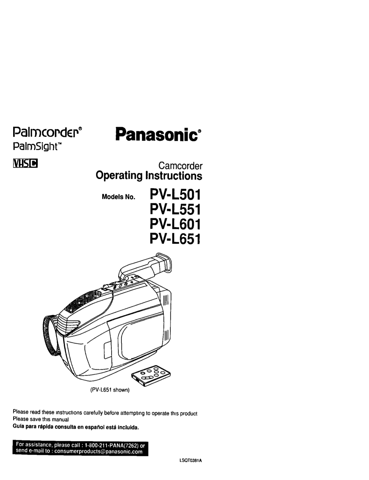 download free pdf for panasonic palmcorder pv