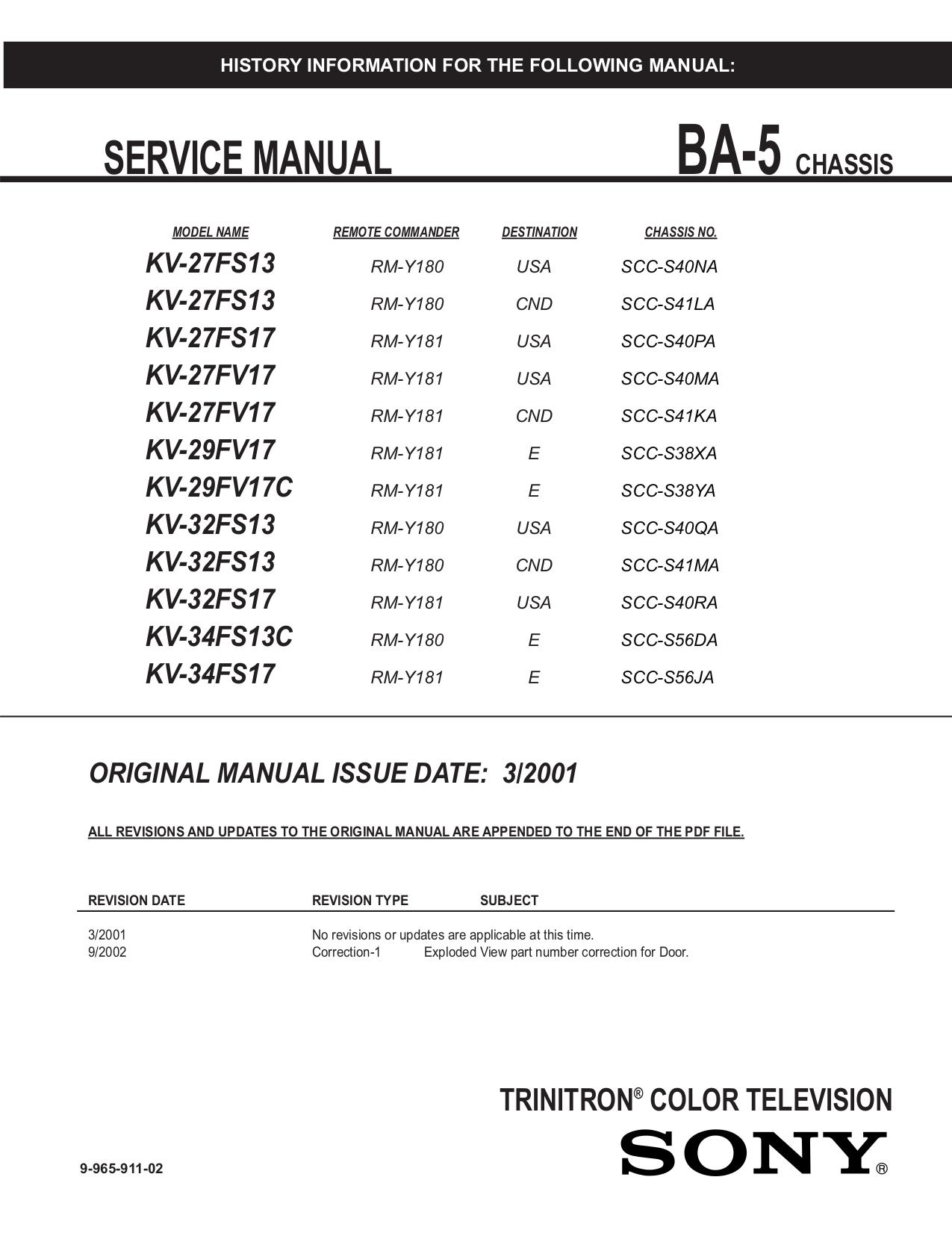 pdf manual for sony tv wega kv 27fs13 rh umlib com Sony User Manuals Sony User Manuals