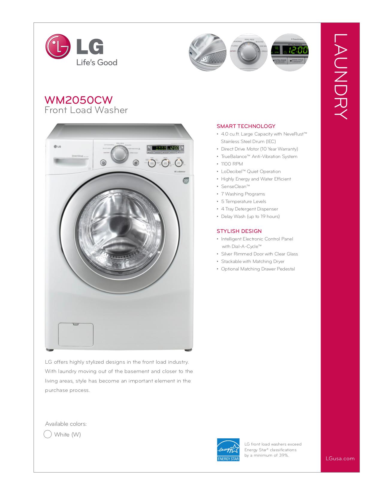 pdf for LG Washer WM2050CW manual