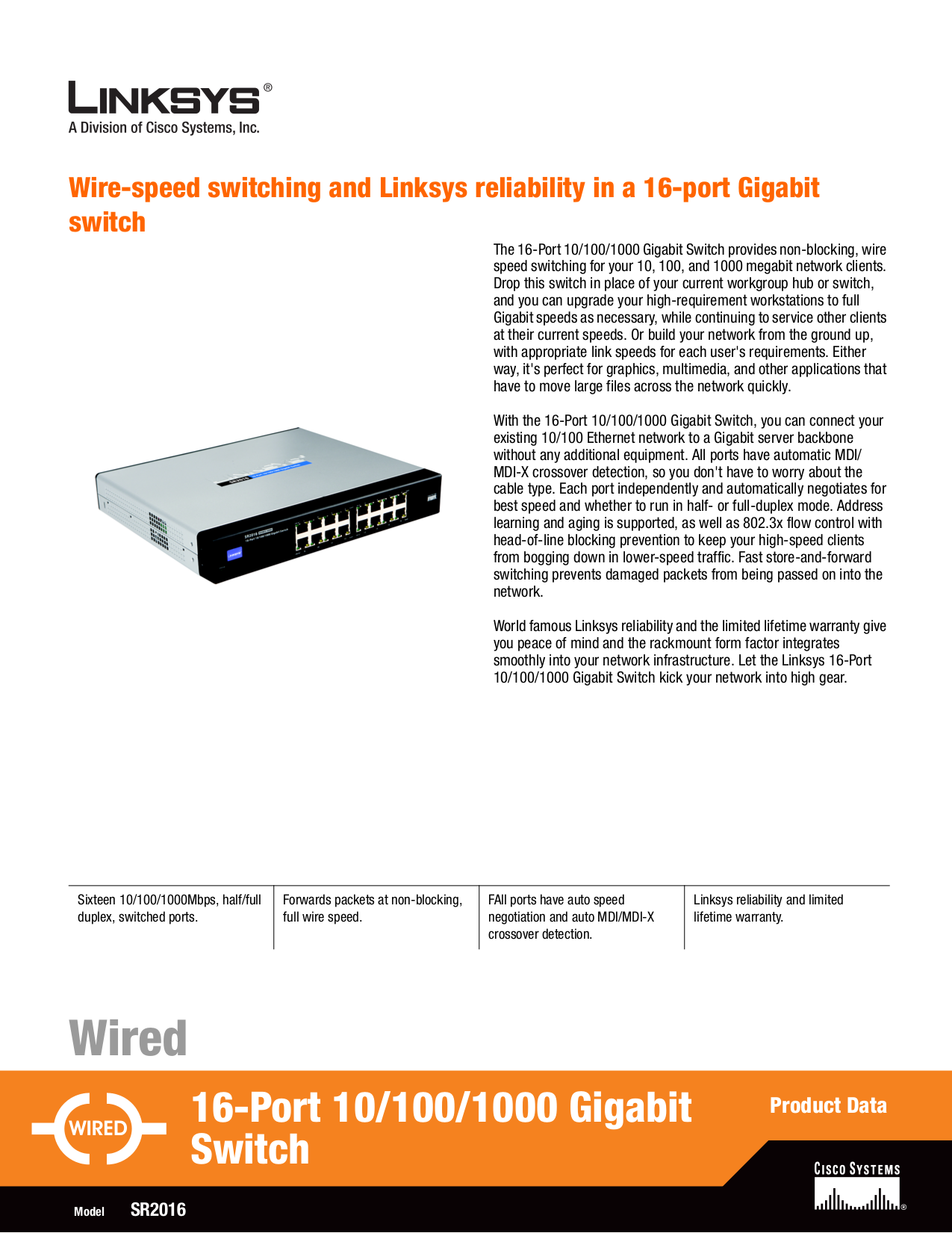 pdf for Linksys Switch SR2016 manual
