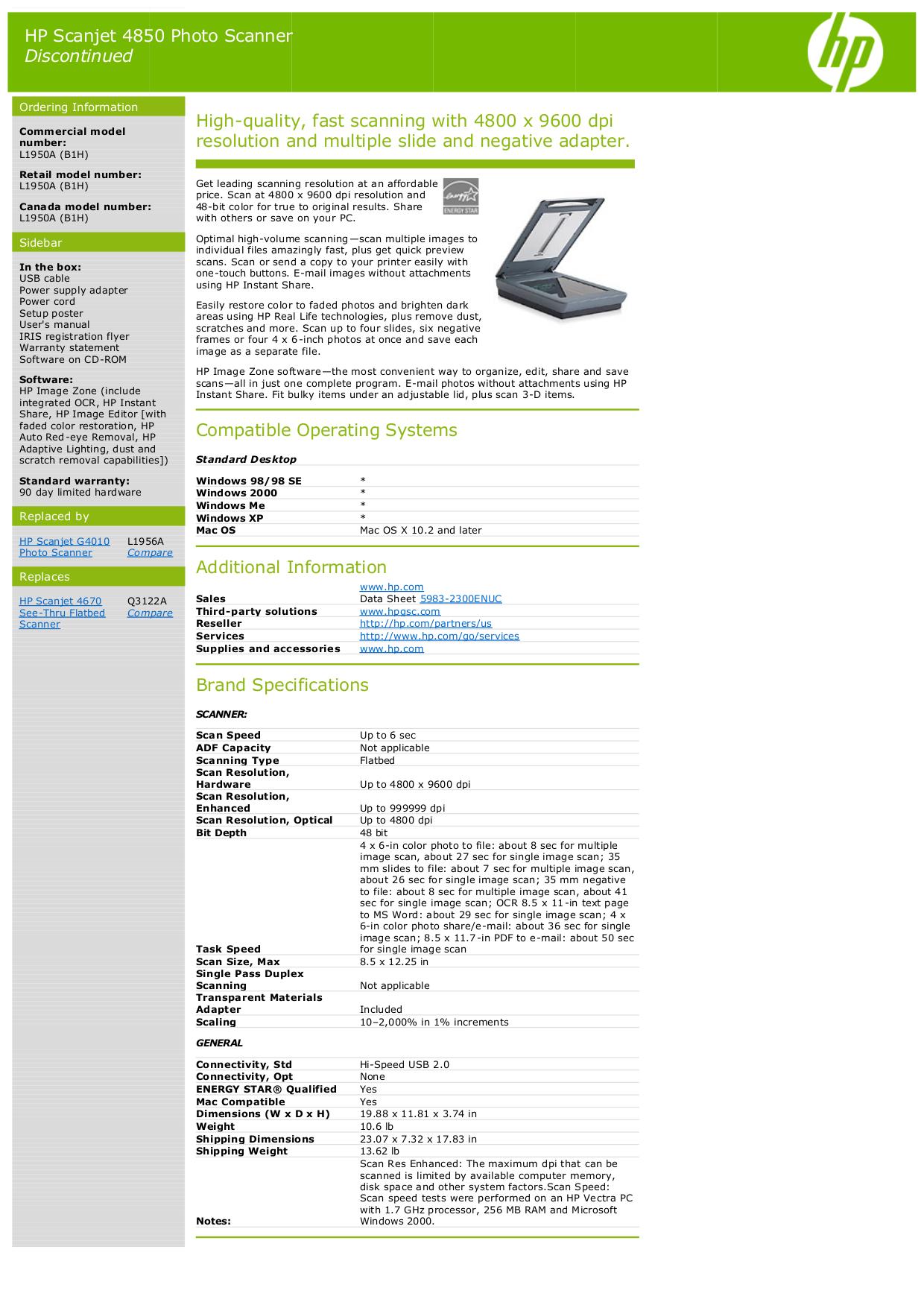 Download Free Pdf For Hp Scanjet 4850 Scanner Manual border=