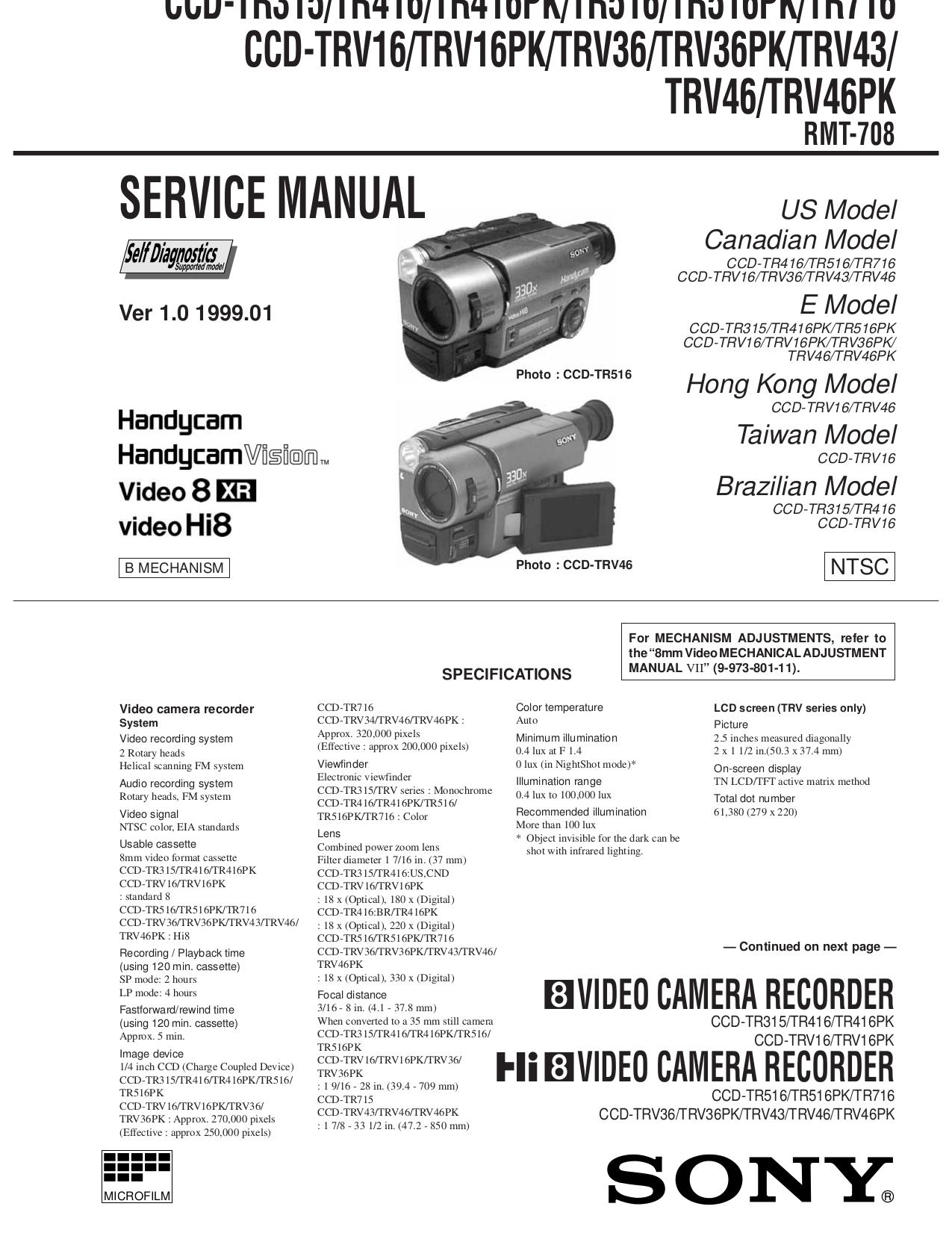 download free pdf for sony handycam ccd tr315 camcorders manual rh umlib com sony handycam manual hdr-cx240 sony handycam manual dcr-sr68