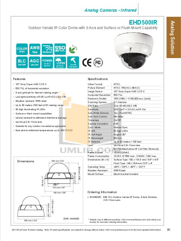 pdf for EverFocus Security Camera EHD500IR manual