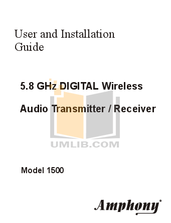 pdf for Amphony Other L1500 Audio Transmitters manual