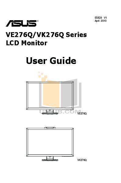pdf for Asus Monitor VE276Q manual