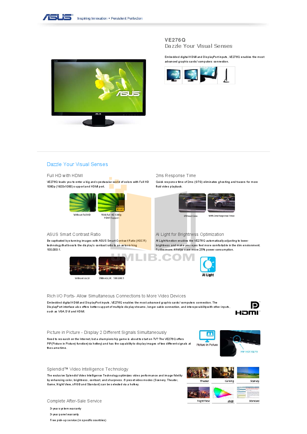 Download free pdf for Asus VE276Q Monitor manual