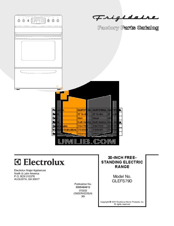 pdf for Frigidaire Range GLEFS79DSK manual