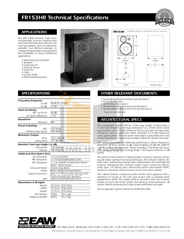 pdf for Eaw Speaker System FR153HR manual