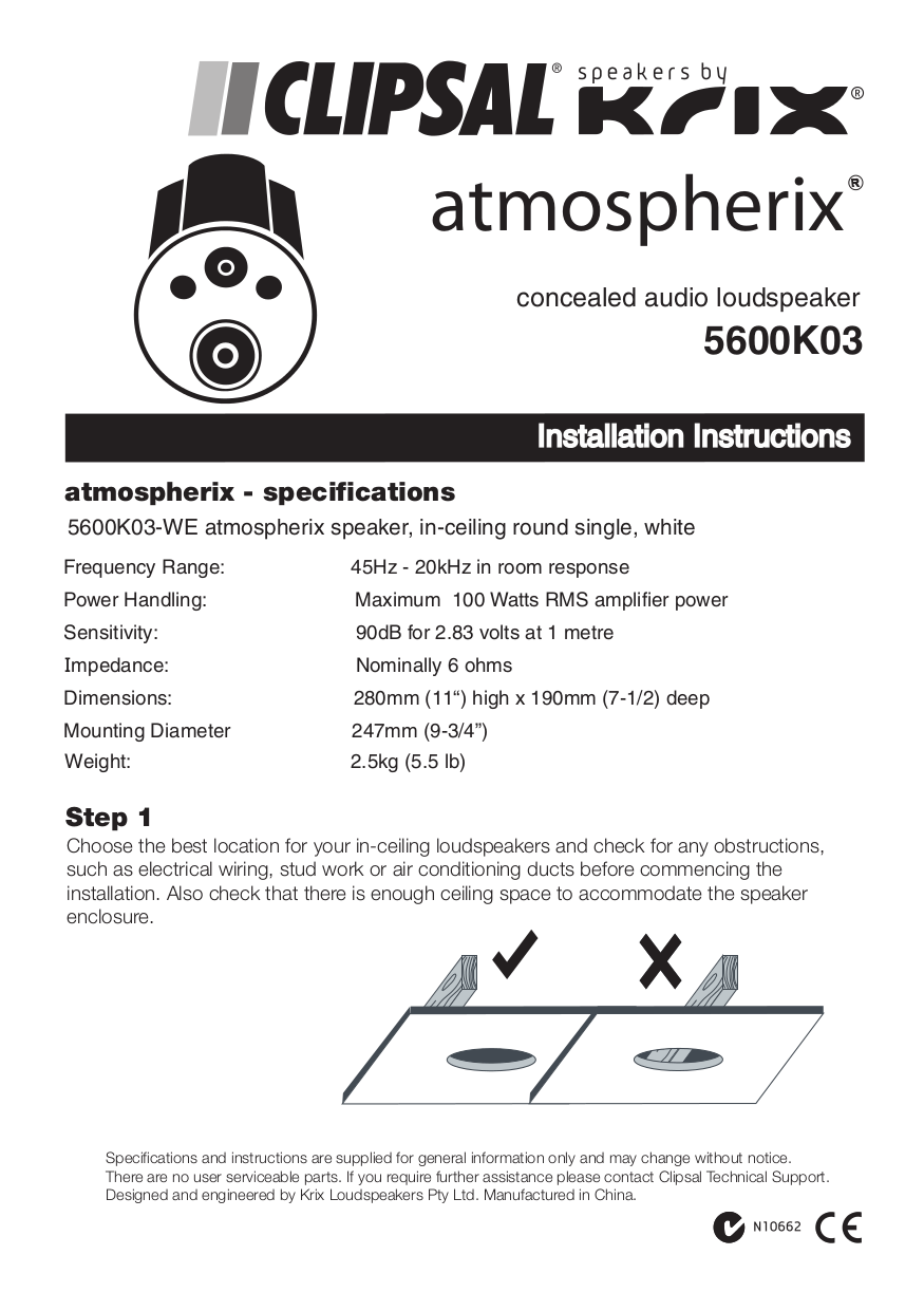 Pdf Manual For Krix Speaker Atmospherix