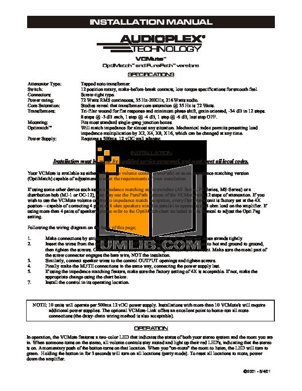 pdf for Audioplex Other MJ-1 Distribution Hub manual