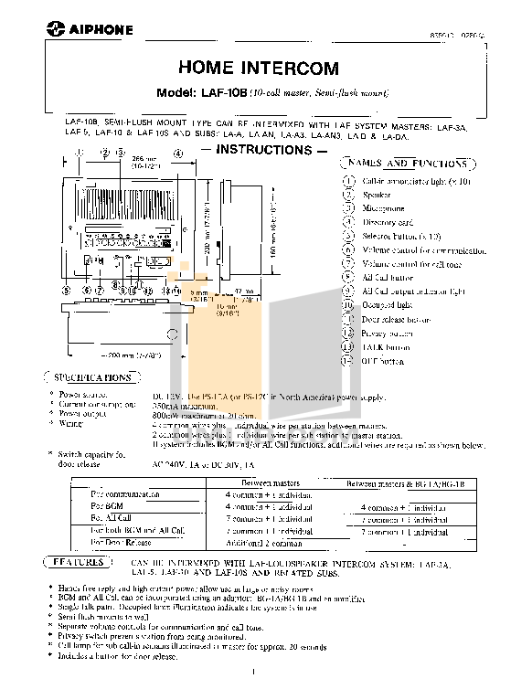 pdf for Aiphone Other LAF-10 Intercoms manual