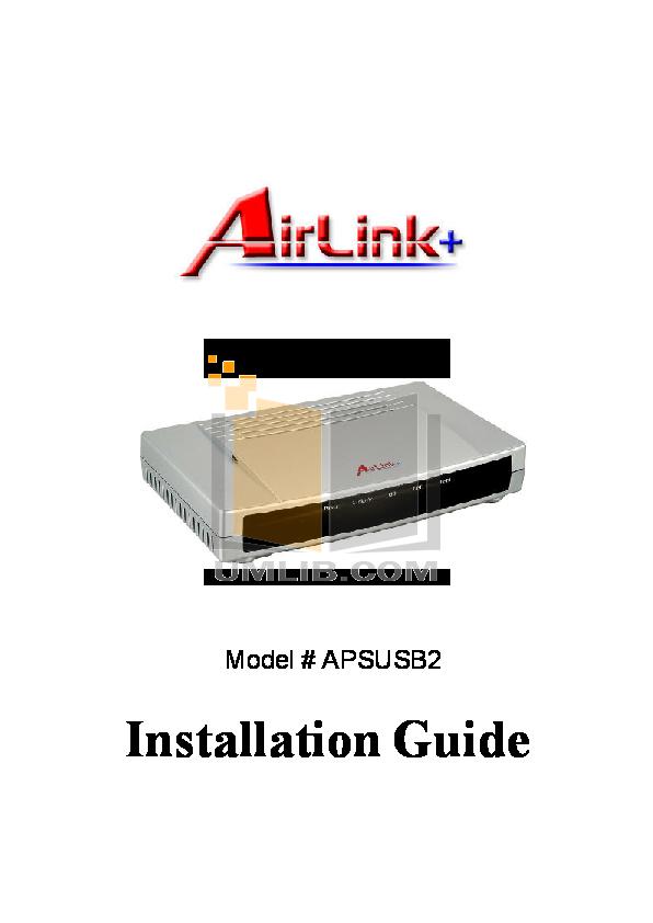 pdf for Airlinkplus Other APSUSB2 Printer Servers manual