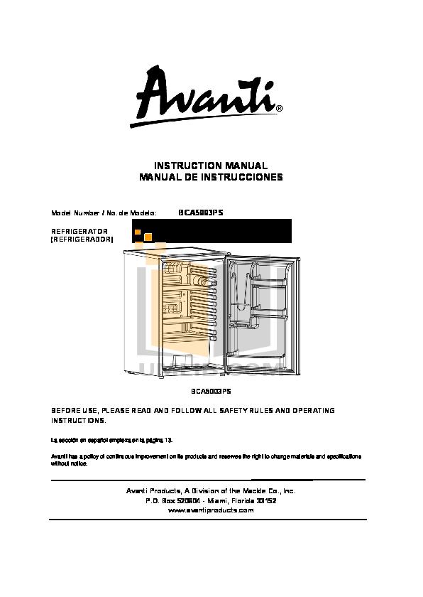 pdf for Avanti Refrigerator BCA5003PS manual