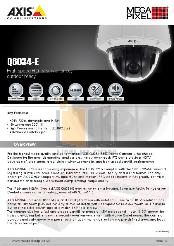 pdf for Axis Security Camera Q6034-E manual