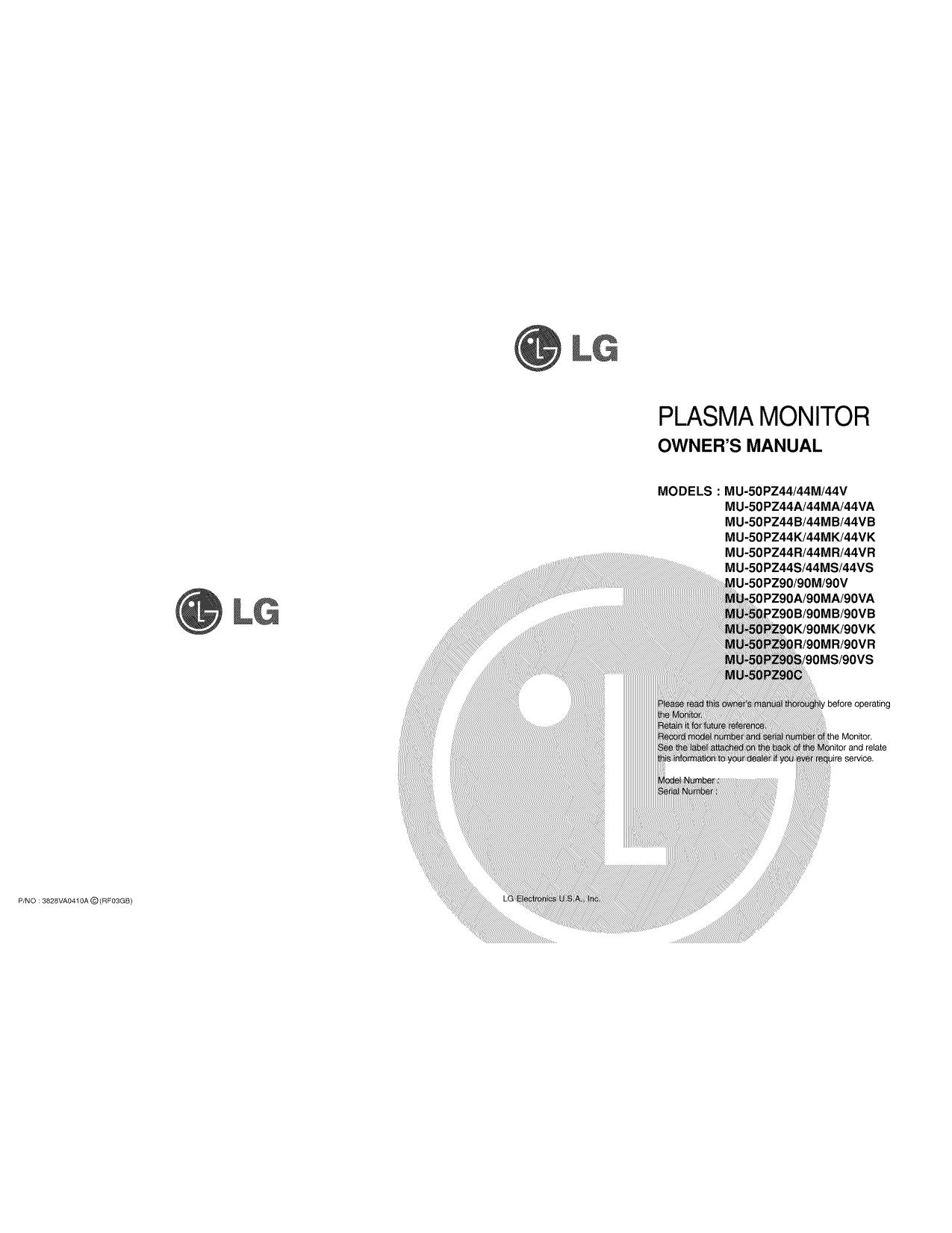 pdf for LG Monitor MU-50PZ44S manual