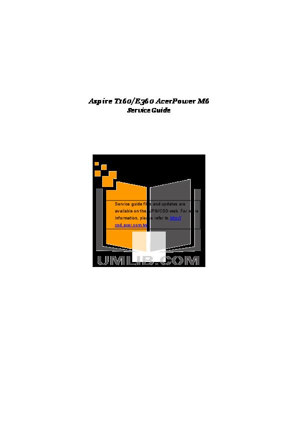 pdf for Acer Desktop Aspire T160 manual